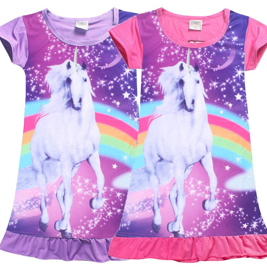 Niños lindos unicornio caballo superior t-shirt ropa de dormir ...