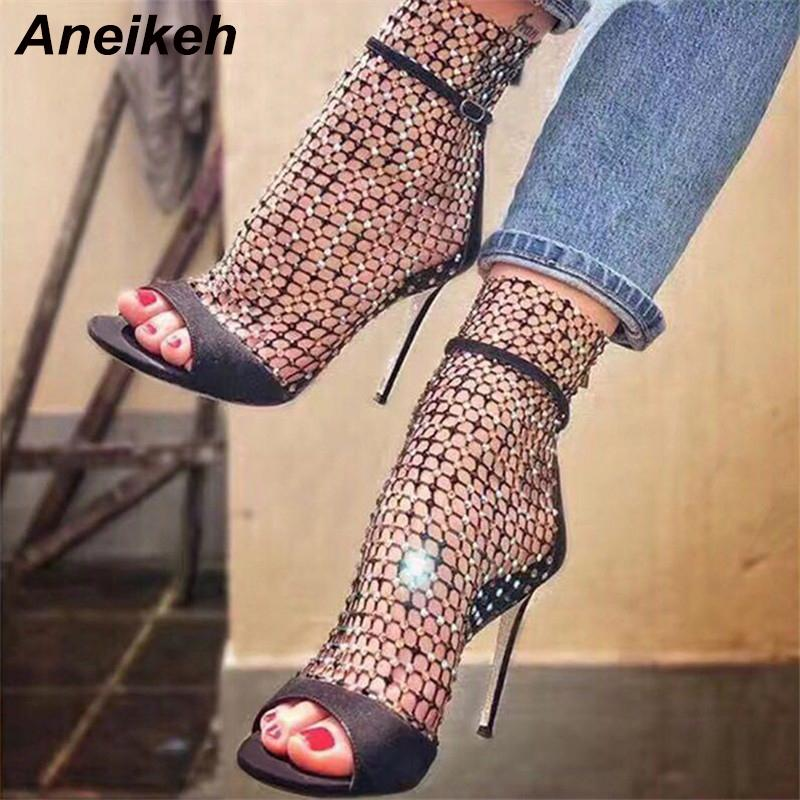 2019 Spring Womens Ankle Boots Lace Mesh Zip Chunky Heel Casual Hot Club Fashion