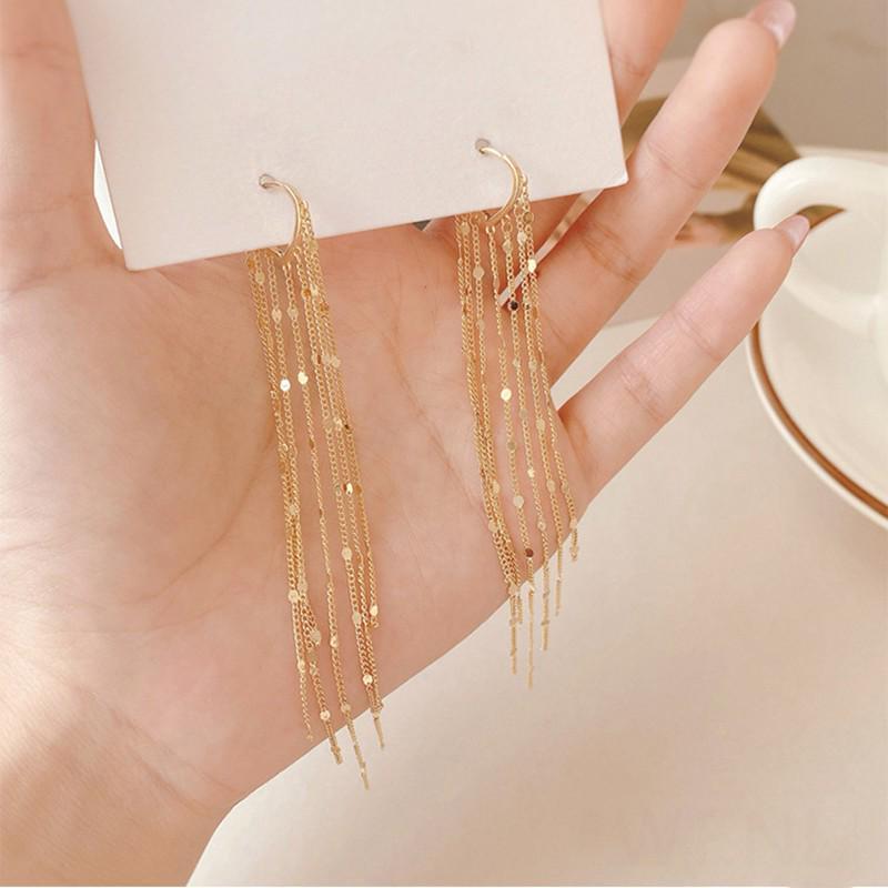 New Arrival Tassel Crystal Trendy Geometric Dangle Earrings Elegant Sweet Crystal earrings Lovely Chain earrings