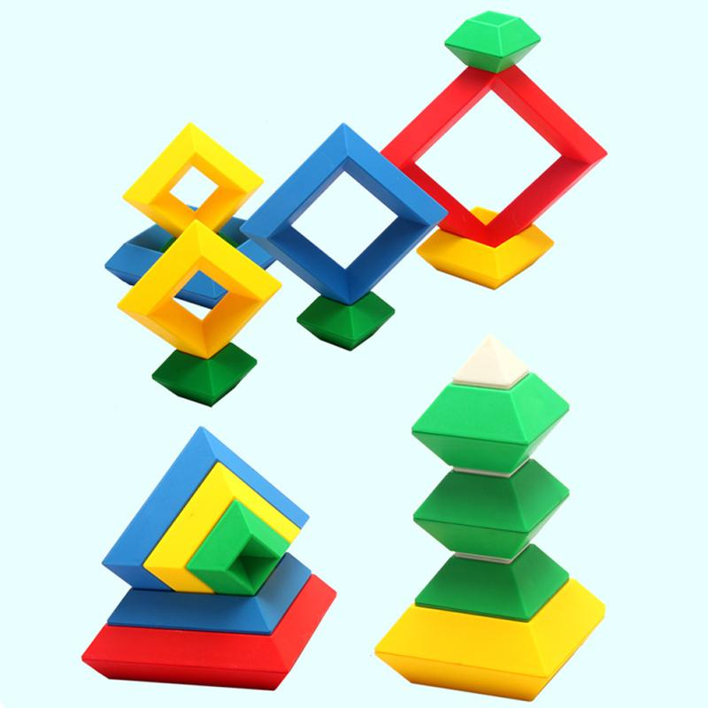 Rhombus Variety Changeable Pyramid Building Blocks Tower Toy Creative Deluxe