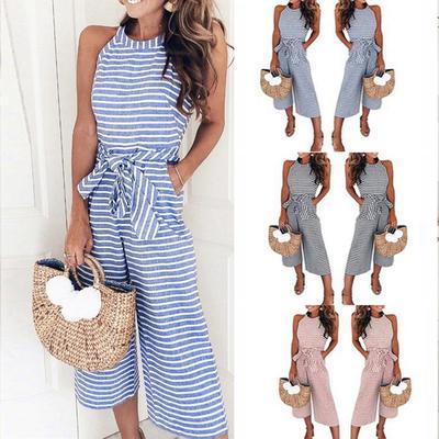 a56f28e0ae19 Women Jumpsuit Sleeveless Striped Jumpsuit Casual Clubwear Wide Leg ...