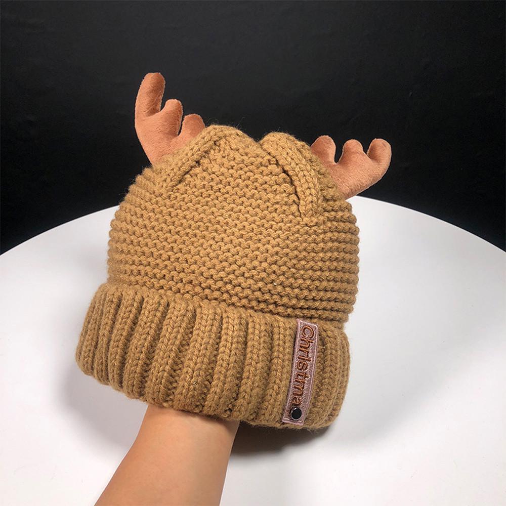 Las mujeres otoño invierno Cachemira asta gorro tejido lana cálida ... c2e4cb750a3