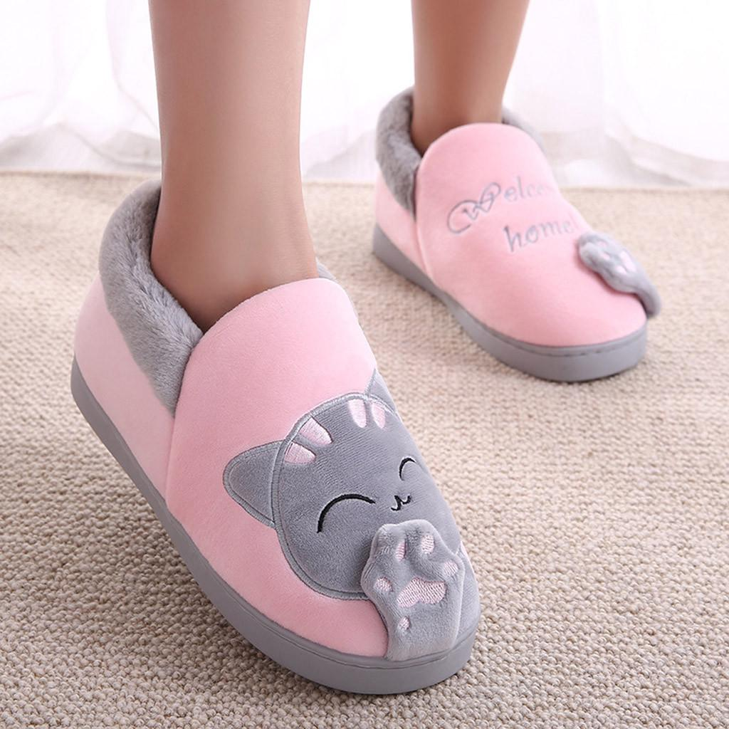 Details about  /Womens Indoor Slippers Letters Cat Embroidery Winter Warm Anti Slip Home Slipper