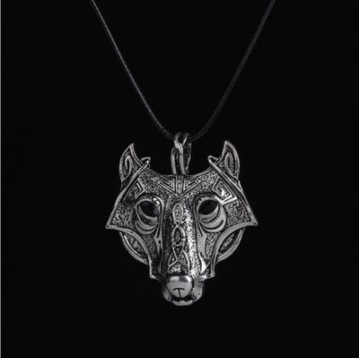 Silver Luck Unisex Norse Vikings Leather Rope Wolf Head Pendant Necklace