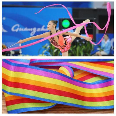 Set of 4pcs Rhythmic Gymnastics Brocade Ribbons with Wood Handles 4 Meters