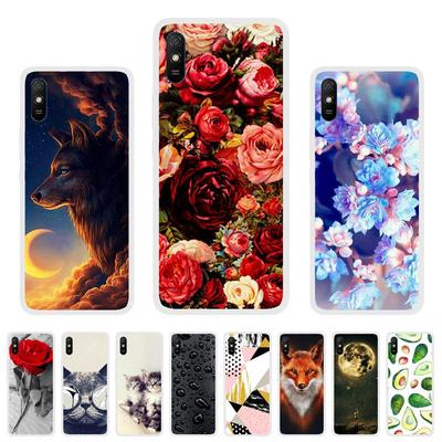 Soft Case for Xiaomi Redmi 9A Case Silicone for Xiaomi Redmi 9A Cover Cute Cat Animal Flowers Patterned Soft TPU Phone Bumper
