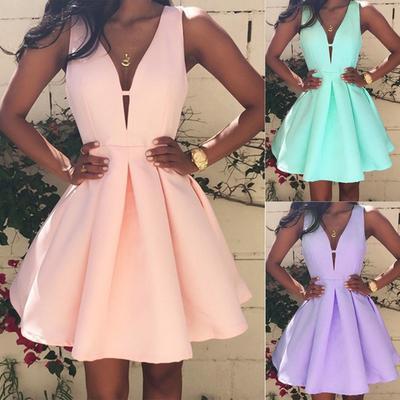 61b4e1f8056 Сексуальные женщины летом каждый день без рукавов вечер партии Бич платье  мини платье размер моды платье