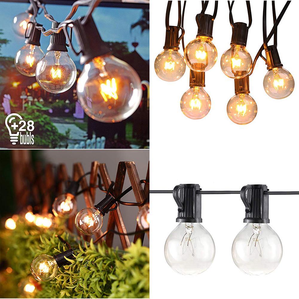 25FT Outdoor String Bulb Festoon Hang up Back Garden Gazebo Pub Fairy Lights NEW