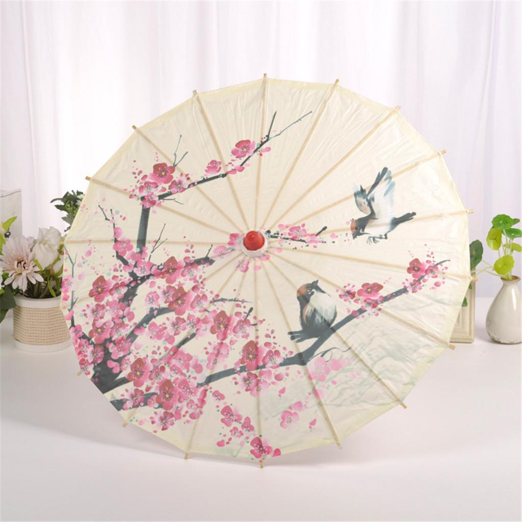 Chinese Bamboo Silk Cloth Classical Style Umbrella Oil Paper Umbrella Decoration