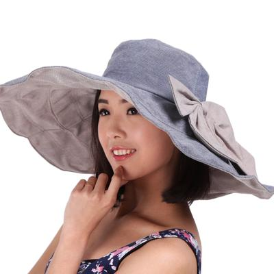9709dd00c59 Women s Ladies Foldable Floppy Reversible Wide Brim Beach Sun Hat With  Bowknot