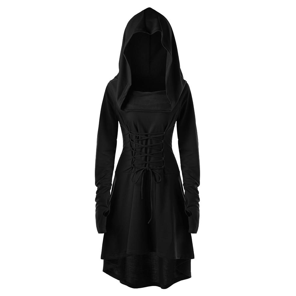 Women Vintage Jacket Steampunk Gothic Coat Costumes Lace Up Hooded Pullover High Low Bandage Cloak Dress Cosplay Dress