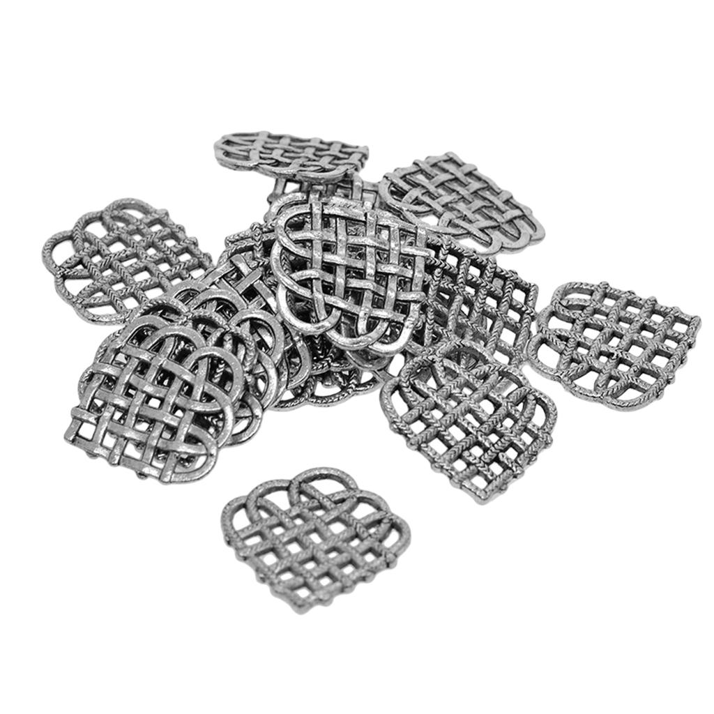 50pcs//Pack Hollow Out Heart Glue On Bails Pendant Necklace Tibetan Silver