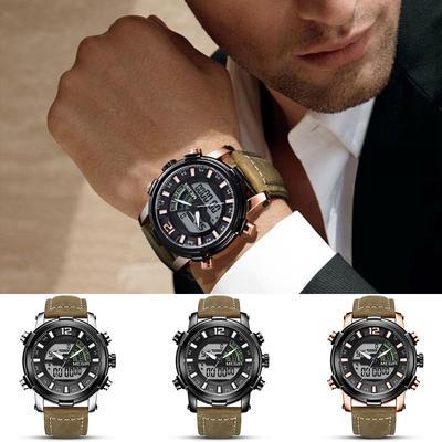 6eac027e411 Relógios de negócios relógio fuso Dual Monitor calendário multi função  esportes couro mão cinto masculino