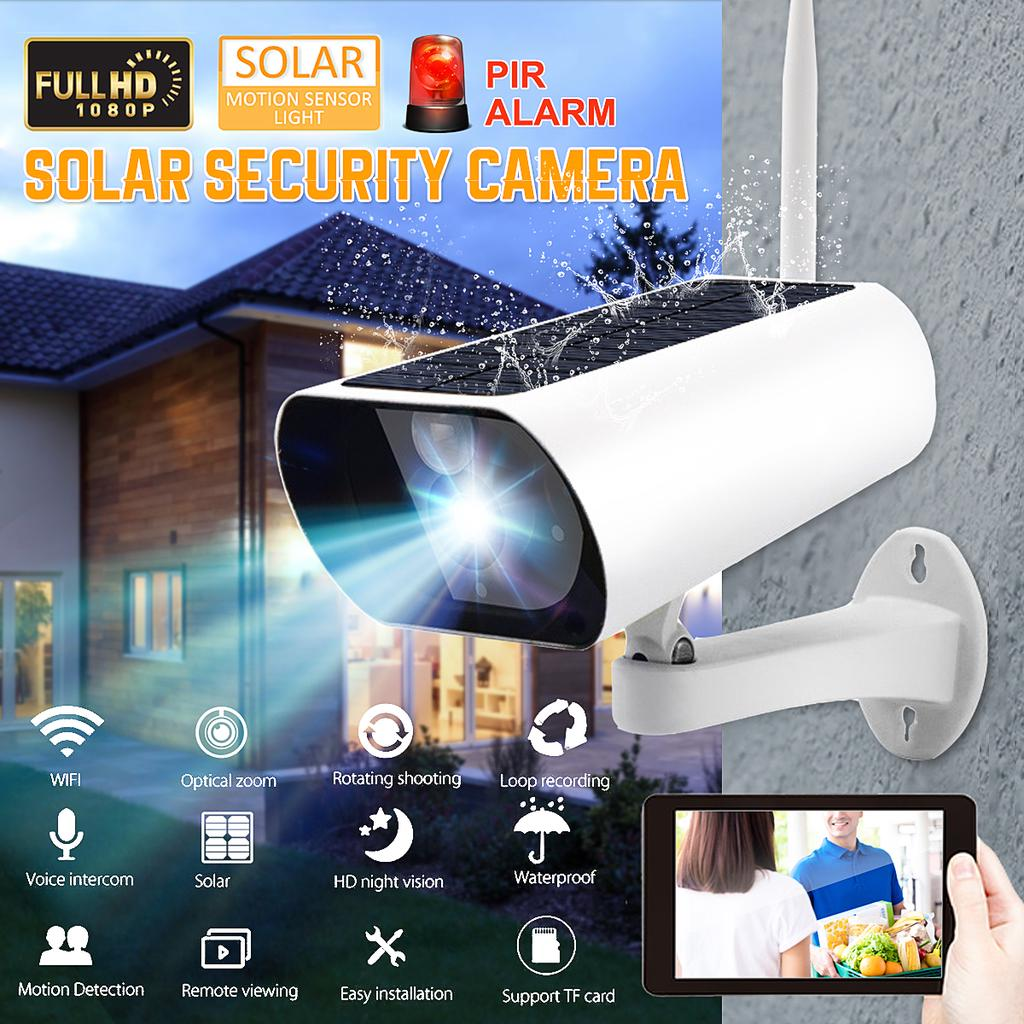 12V Открытый солнечной безопасности CCTV 1080P Беспроводная солнечная камера наблюдения WIFI IP67 Водонепроницаемый IP Camcorder Smart PIR датчик движения с системой сигнализации – купить по низким ценам в интернет-магазине Joom