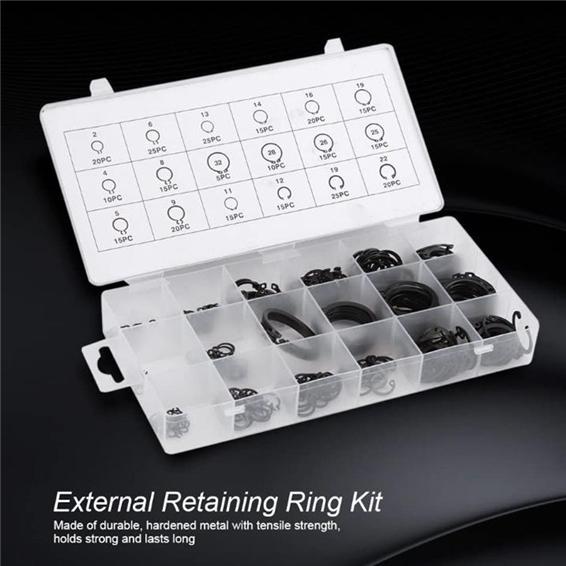 E-Clip Kit 300Pcs 2-32mm E-Clip Snap Circlip Kit External Retaining Ring Assortment Set