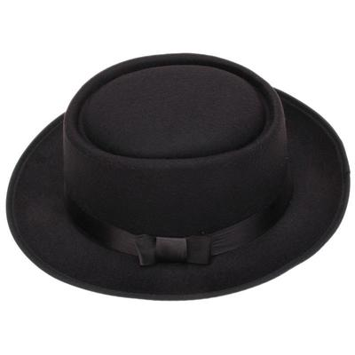 5efd610c7b6 England Style Unisex Blower Round Dome Top Hat Jazz Hat Bowknot Ribbon Wide  Brim Caps