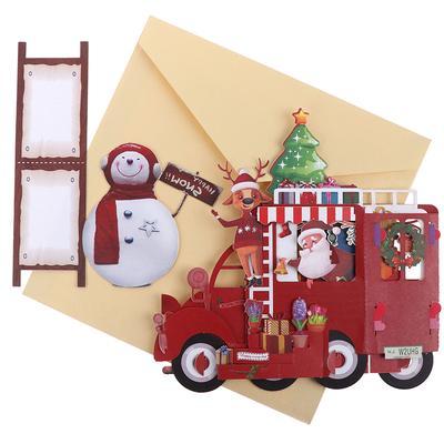 Navidad Coche Popup Pop Up Saludo 3d Tarjeta Regalo De