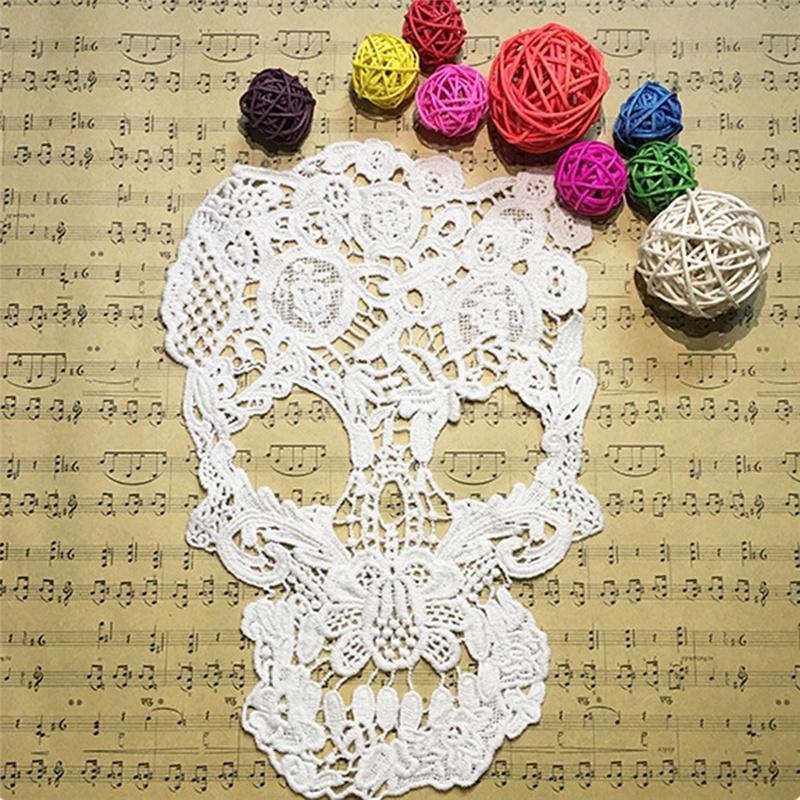 1 PC blanco estilo Punk cráneo patrón Floral bordado con encaje ...