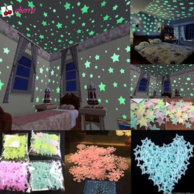 4 Pack 3D Star Dots Luminous Wall Stickers Glow in The Dark DIY Bedroom Kids Rooms Wall Decor Kit Ceiling Decals Home Decoration