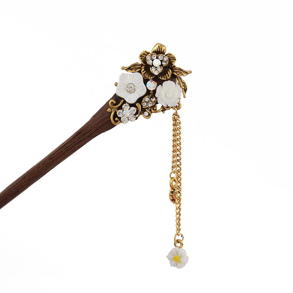 Chinese Style Metal Rhinestone Hair Stick Hair Chopsticks Chignon Hairpin Pin