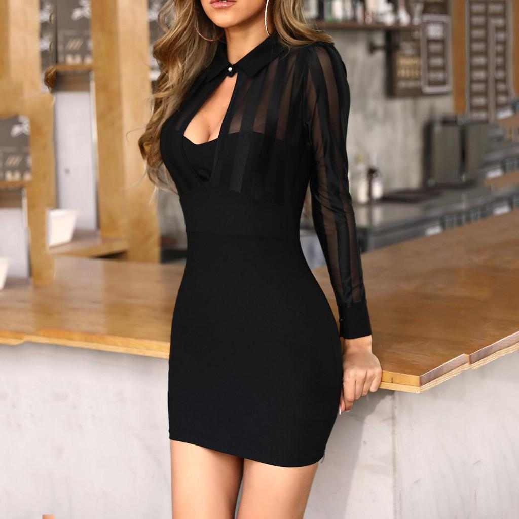Women long sleeves deep V neck mesh sheer bodycon club party cocktail dress
