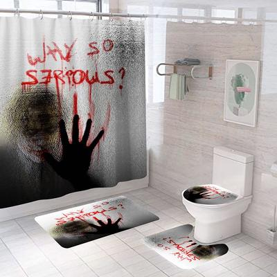 Waterproof Cartoon Circus in Carnival Shower Curtain Bathroom Decor Bath Mat
