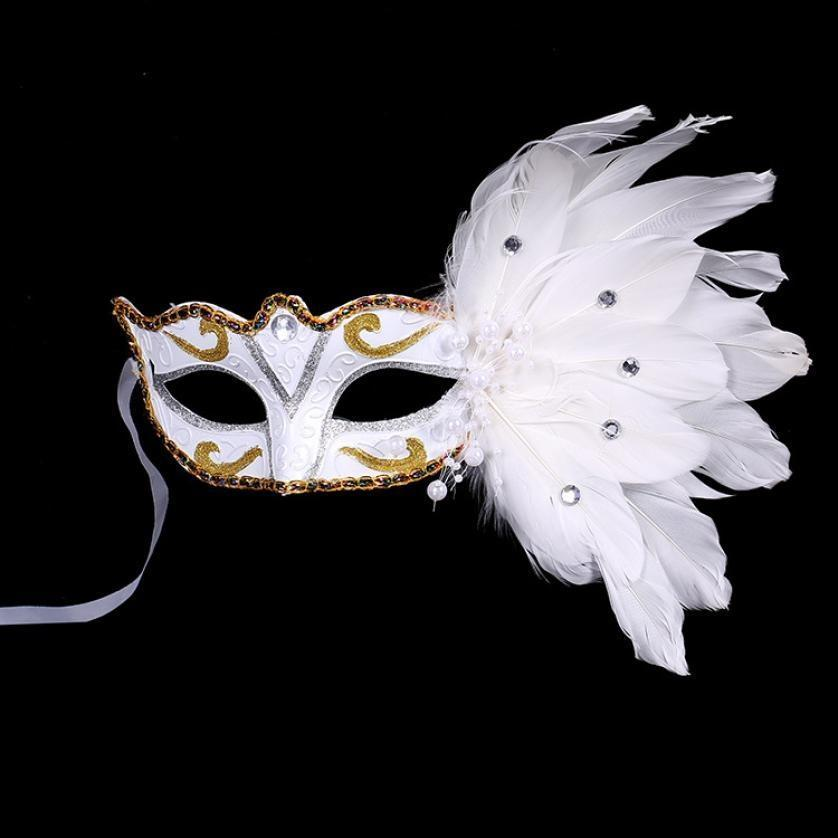 Ladies Womens Blue Face Mask with Veil and Feathers Fancy Dress Party Shows