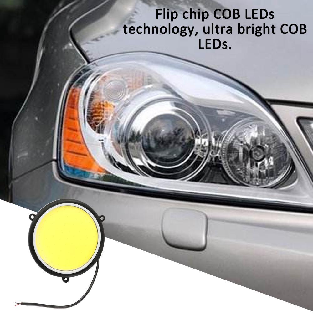 Daytime Running Light 2PCS DC12V 90mm COB Car DRL Round Shape Daytime Running Light White LED Lights
