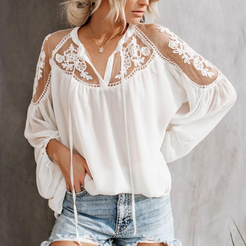 Женщины V-Neck случайные кружева сетки сшивание Длинные рукава Перспектива Ruched блузка