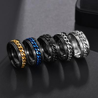 Titanium Stainless Steel Chain Spinner Ring For Men Blue Gold Black Punk Rock Rings Accessories Jewelry Gift