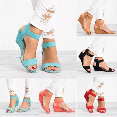 [Coconut Tree] Women's Ladies Fashion Solid Wedges Heel Buckle Strap Roman Shoes Sandals