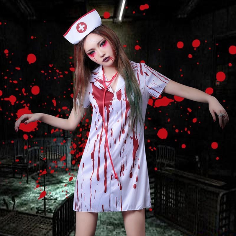 Nurse Blood Stockings Halloween Cosplay Performance Props Bloody Socks Top