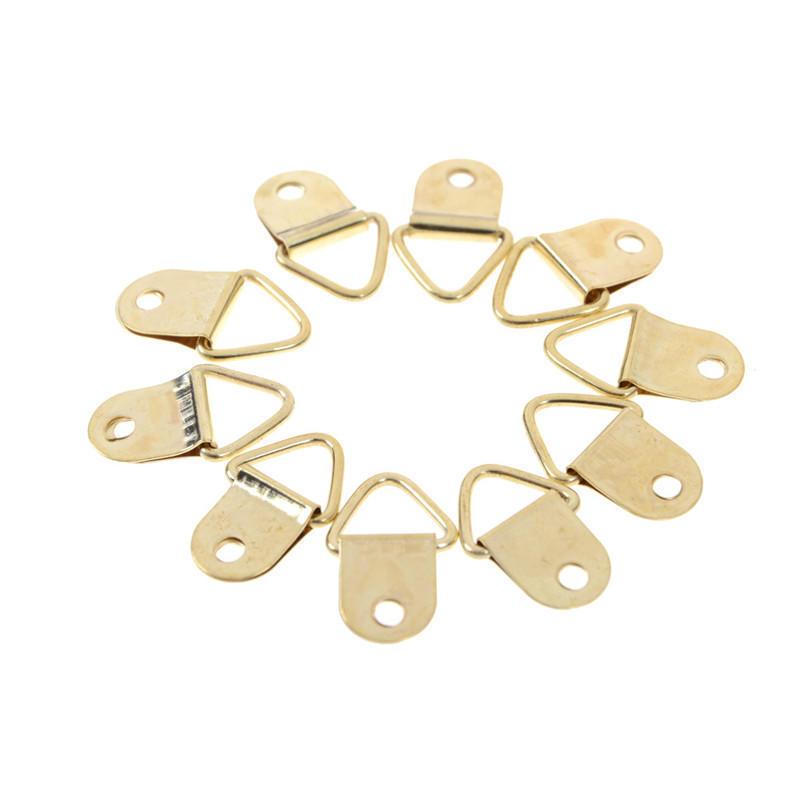 20pcs D anillo ganchos latón dorado triángulo foto foto marco ...