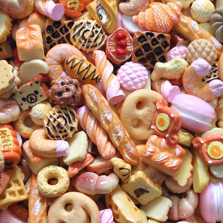 Resin Flatback Cabochons for Phone Deco 20pcslot donuts Mix Cute Kawaii Food Scrapbooking DIY