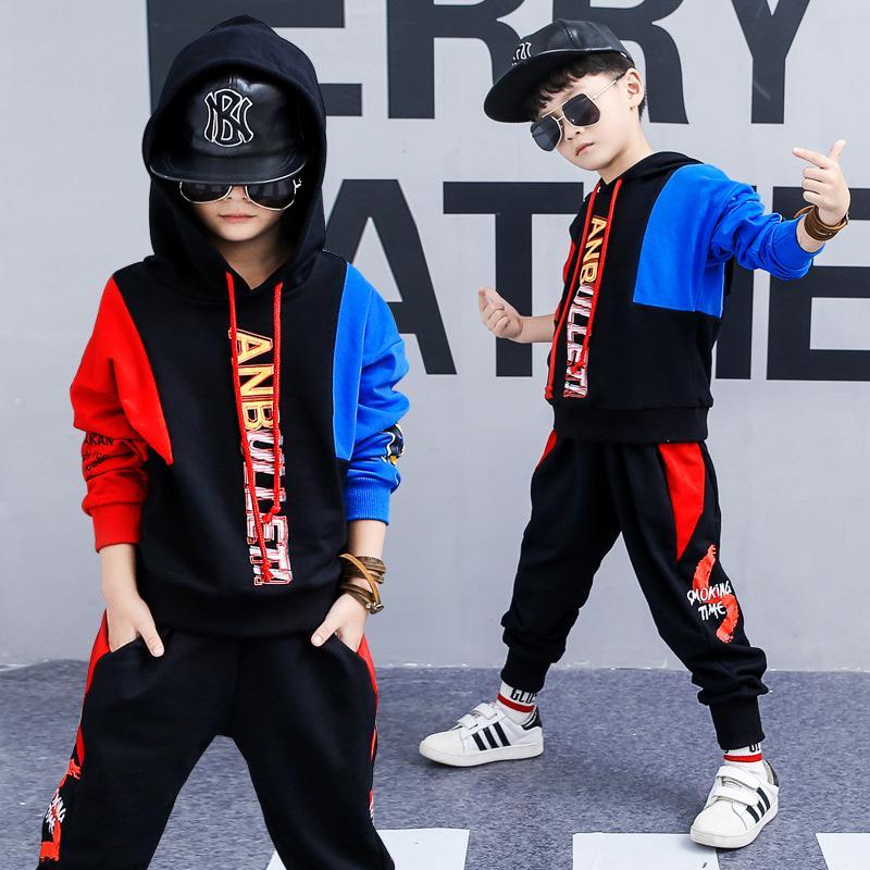 6741d18976f Moda baieti Set pulover cu gluga copii costume de două piese băiat ...