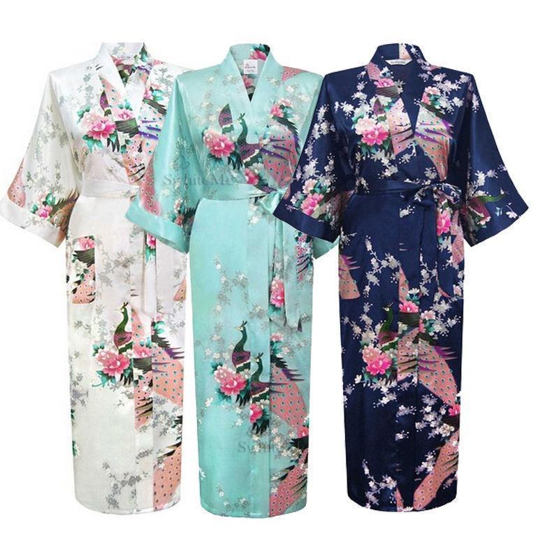 Women Satin Lace Kimono Robe Bathrobe Night Dressing Gown Bridesmaid Sleepwear