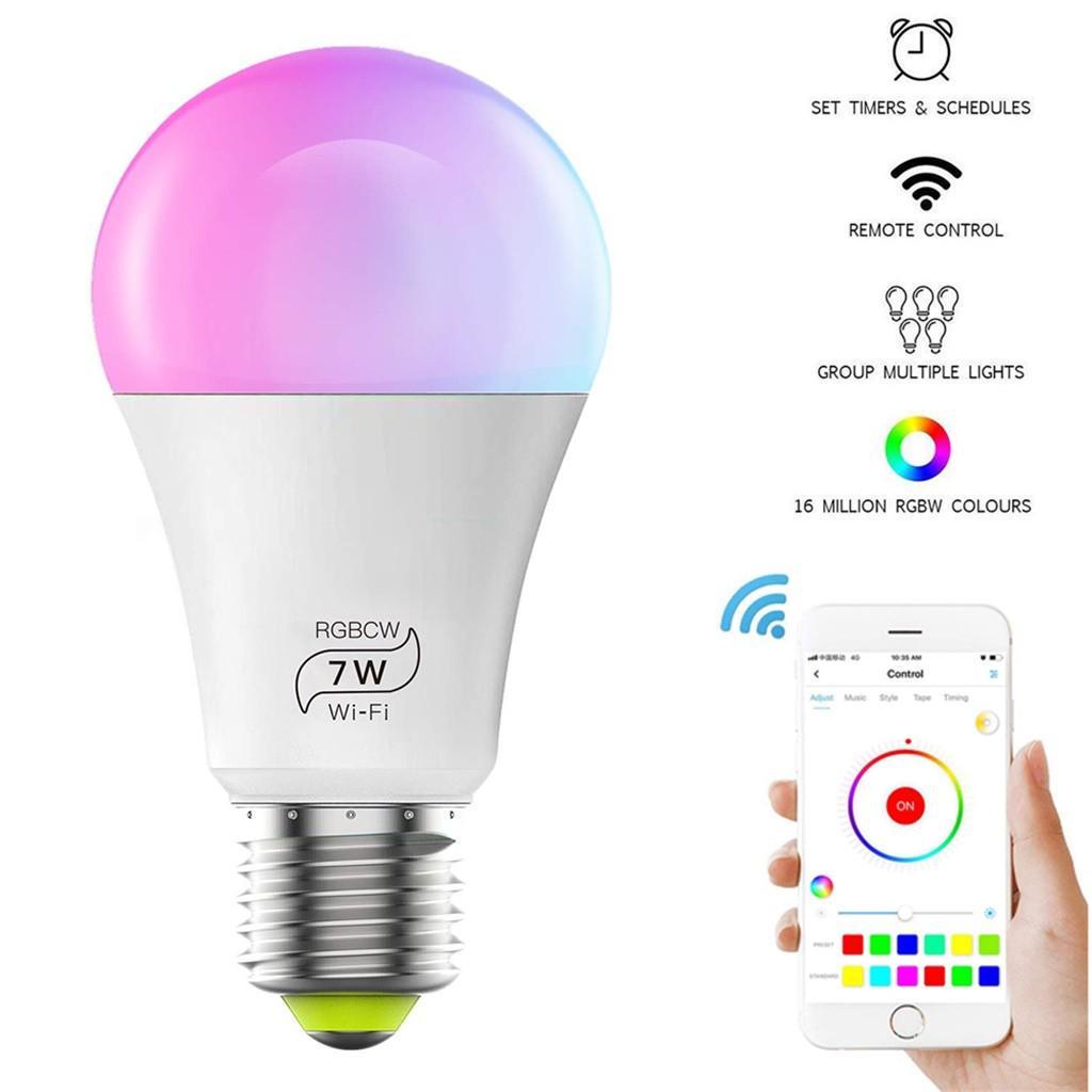 Wifi Smart LED Light Bulb RGB+CW App Control Home E26