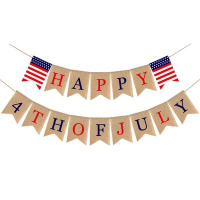 Happy 4th of July Banner Party Bunting Banner America Independence Day Garland Bunting Banner Memorial Day Veterans Day Photo Prop Sign