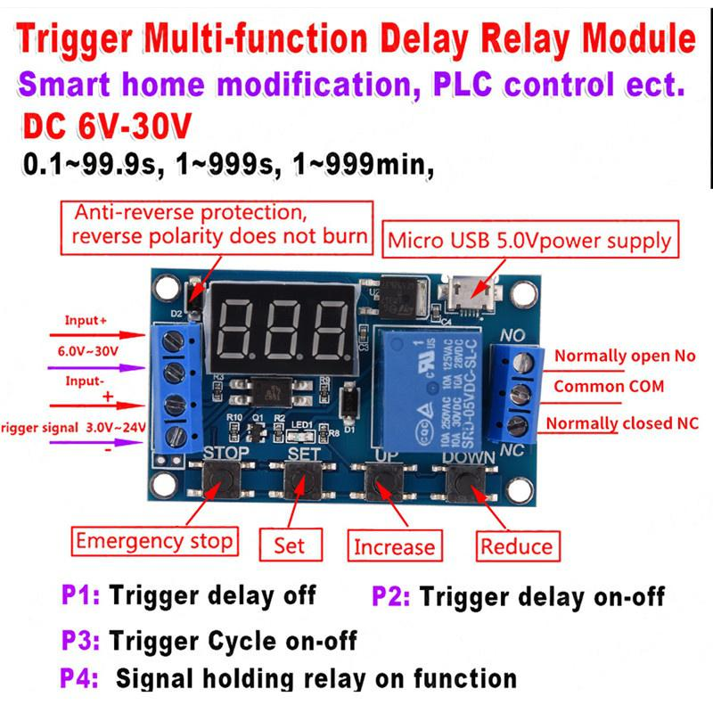 6v-30v Relay Module Switch Trigger Time Delay Circuit Timer Cycle AdjustableJ 9H