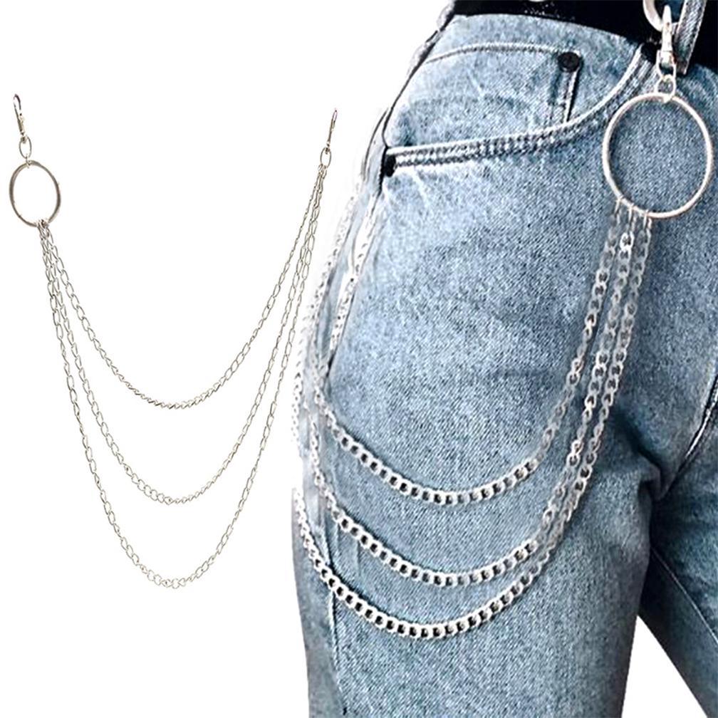 17d407b66 Los hombres de accesorios pantalones punk Metal cintura Hip Hop ...