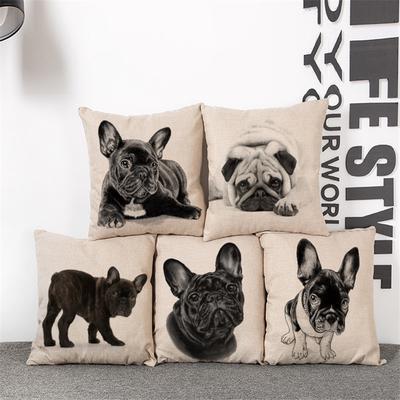 Funny Bulldog Pattern Cotton Linen Throw Pillow Case Cushion Cover Home Decor