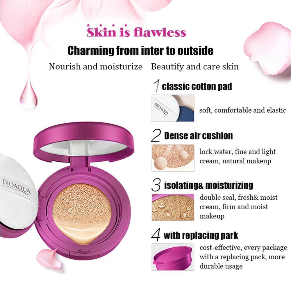 Bioaqua Air Cushion Bb Cream Whitening Brighten Moisturizing Cc Peach Pink 02 Blush On Flawless Cheek 1 Of 12
