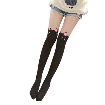 2b875928269 Women Cute Cartoon Animal Mock Knee High Tattoo Tights Pantyhose Socks