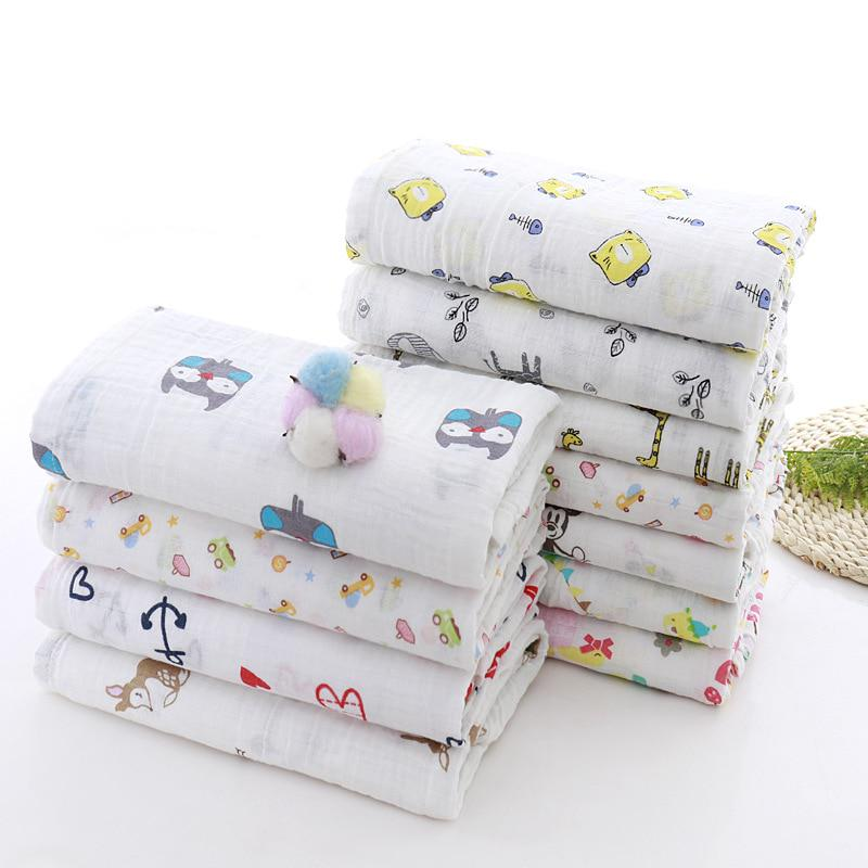 Muslin Blanket 100/% Cotton Baby Swaddles 120*120cm Soft Newborn Blankets Bath Ga
