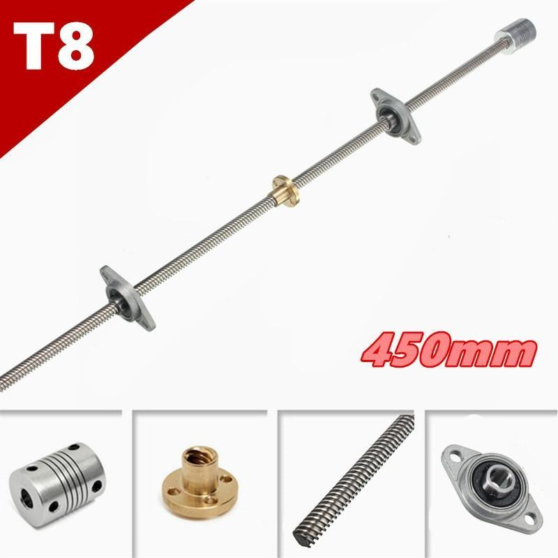 3D Printer Part T8 Lead Screw Set Lead Screw+Copper Nut+Coupler+Mounting Support