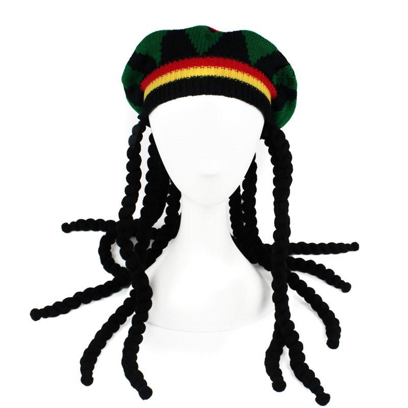 Dummy trenzas coloridas boinas gorro punto gorra jamaicano de peluca ...