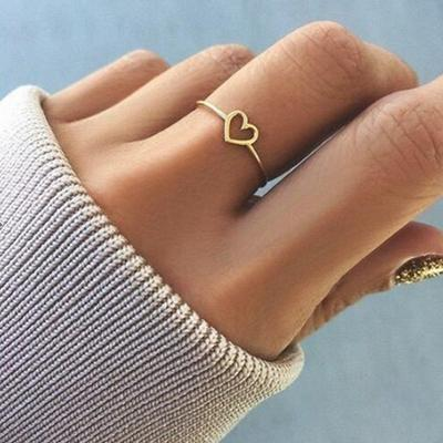 Women Lady Simple Heart Ring Wedding Engagement Bridal Party Rings Fashion Fine Jewelry
