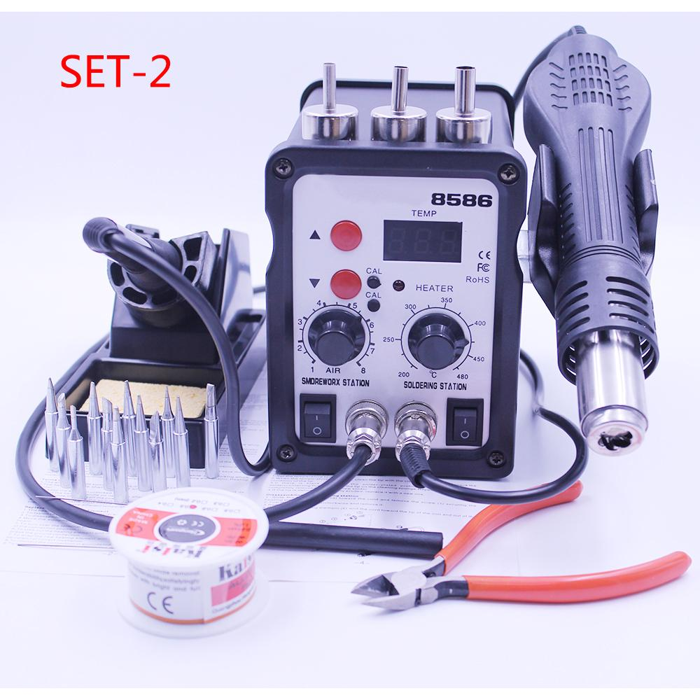 Soldering Iron and Hot Air Gun 2 in 1 SMD Rework Soldering Station Low Noise