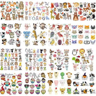 Small Forest Animals Set Sticker On Clothes Heat Transfer Thermal Press Hoodies Diy Vinyl Washable Animal Patches Shoes Transfer