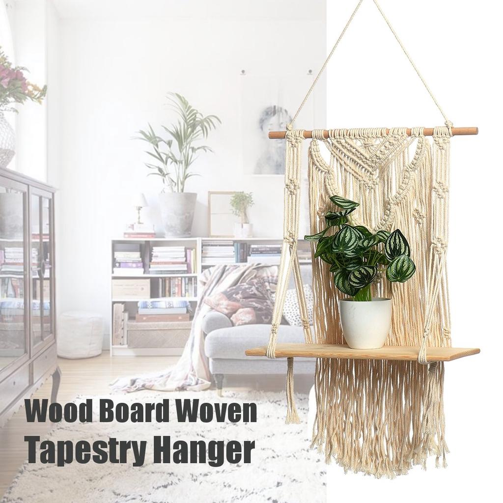 Wood Board Woven Tassel Wooden Shelf Tapestry Macrame Hanger Indoor Room Wall Hanging Planter Home Decor Buy At A Low Prices On Joom E Commerce Platform